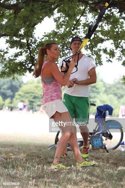 Michelle Heaton and Matt Evers are spotted training for the London Triathlon in Hyde Park on August 01 2014 in London England Michelle and matt were...