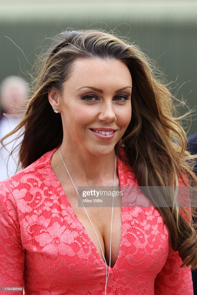 Michelle Heaton arrives for Ladies' Day during day five of the AEGON Classic tennis tournament at Edgbaston Priory Club on June 13, 2013 in Birmingham, England.