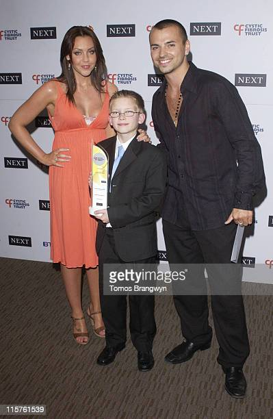 Michelle Heaton Connor Coffey and Andy Scott Lee during Cystic Fibrosis Trust Breathing Life Awards Press Room at Royal Lancaster Hotel in London...