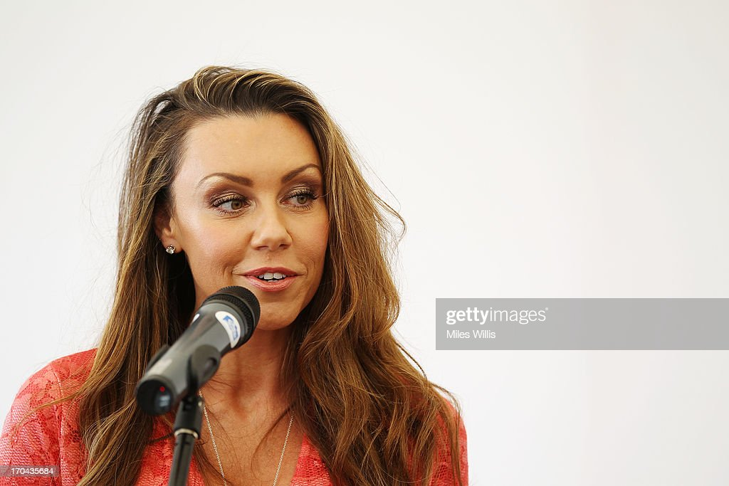Michelle Heaton talks in the hospitality marquee on Ladies' Day during day five of the AEGON Classic tennis tournament at Edgbaston Priory Club on June 13, 2013 in Birmingham, England.