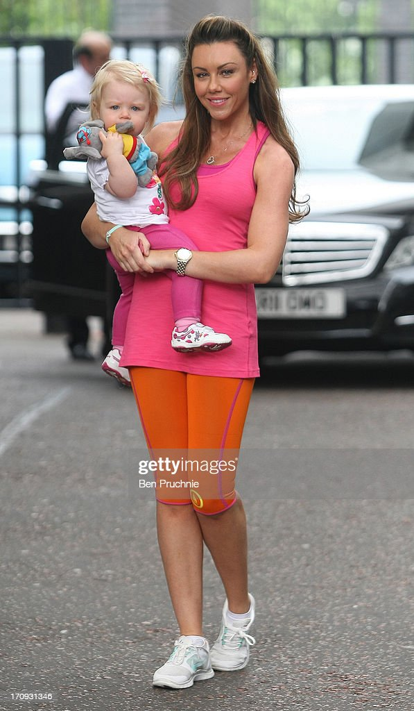 Michelle Heaton, with her daughter Faith Hanley, sighted departing ITV Studios on June 20, 2013 in London, England.