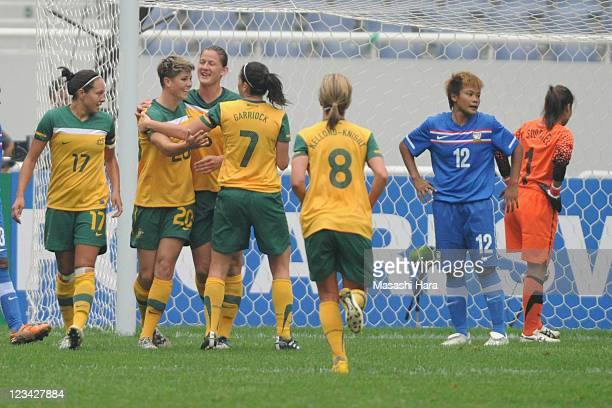 Michelle Heyman of Australia celebrates their second goal with his teammates Kyah SimonAivi LuikHeather Garriock during the Women's Olympic Football...