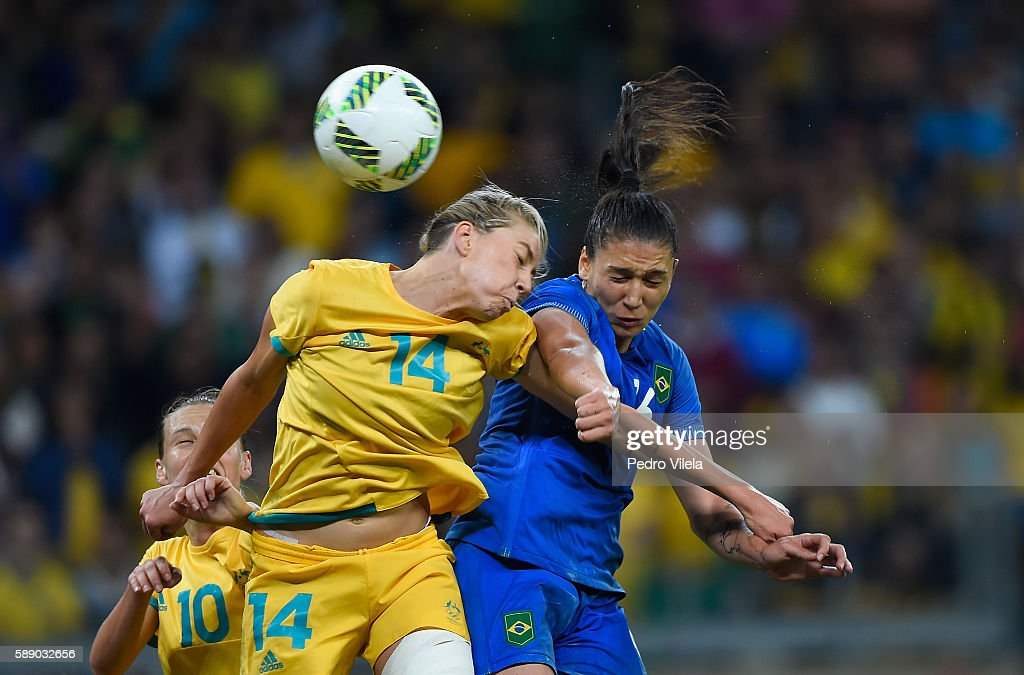 Michelle Heyman of Australia goes up for a headball against Beatriz of Brazil during the second half of the Women's Football Quarterfinal match at...