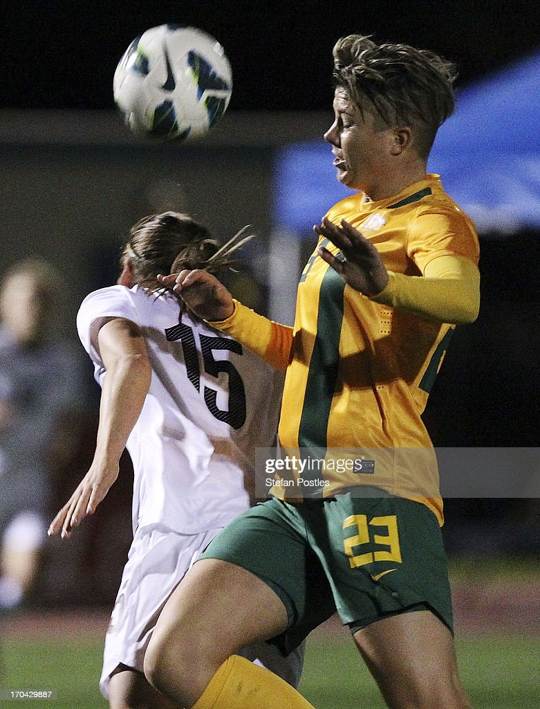 Michelle Heyman of Australia in action during game one of the Women's International Series between the Australian Matildas and the New Zealand Football Ferns at AIS on June 13, 2013 in Canberra, Australia.