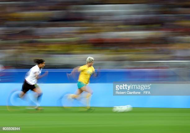 Michelle Heyman of Australia runs with the ball during the Women's First Round Group F match between Germany and Australia on Day 1 of the Rio 2016...