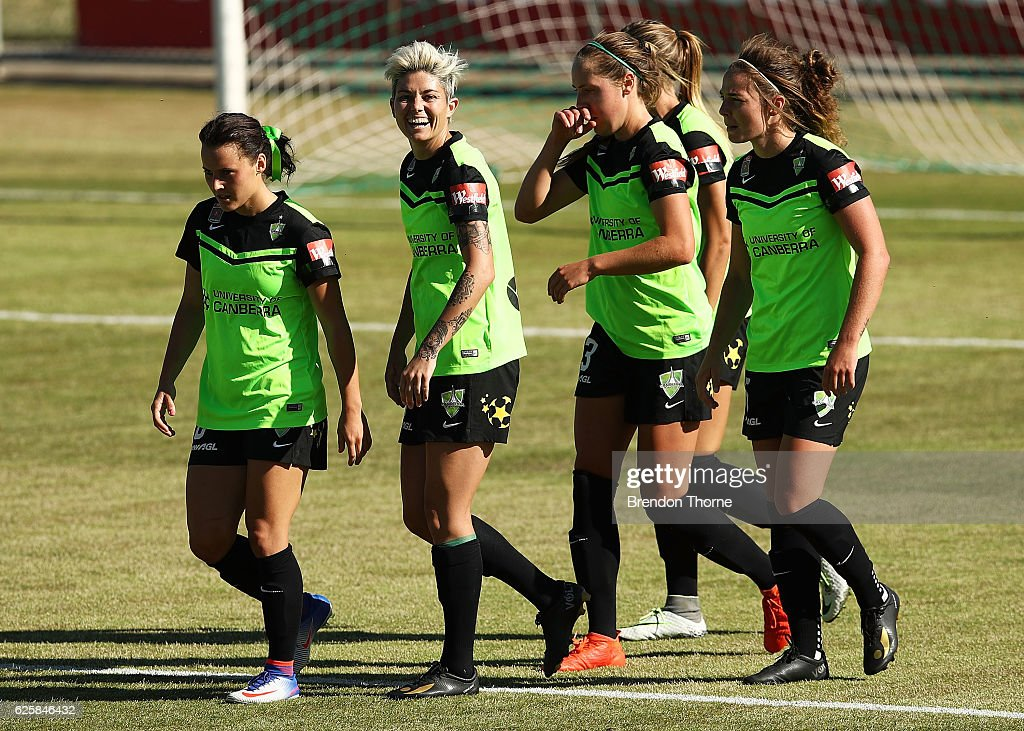 Michelle Heyman of Canberra celebrates with team mates after scoring a goal during the round four W-League match between Canberra United and the Newcastle Jets at McKellar Park on November 26, 2016 in Canberra, Australia.