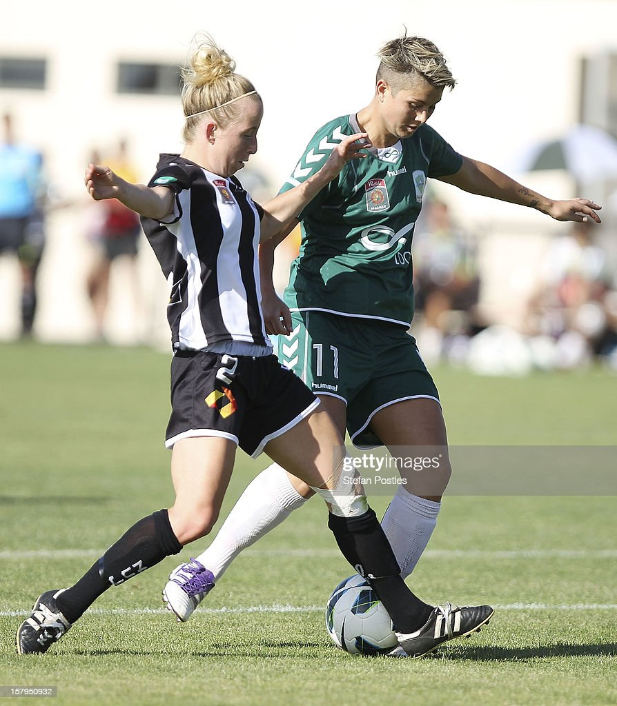 Michelle Heyman of Canberra United and Hannah Brewer of Newcastle Jets contest possession during the round eight W-League match between Canberra United and the Newcastle Jets at Deakin Football Stadium on December 8, 2012 in Canberra, Australia.