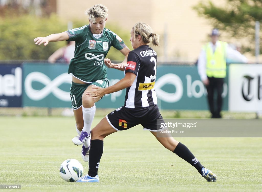 Michelle Heyman of Canberra United and Hayley Crawford of Newcastle Jets contest possession during the round eight W-League match between Canberra United and the Newcastle Jets at Deakin Football Stadium on December 8, 2012 in Canberra, Australia.