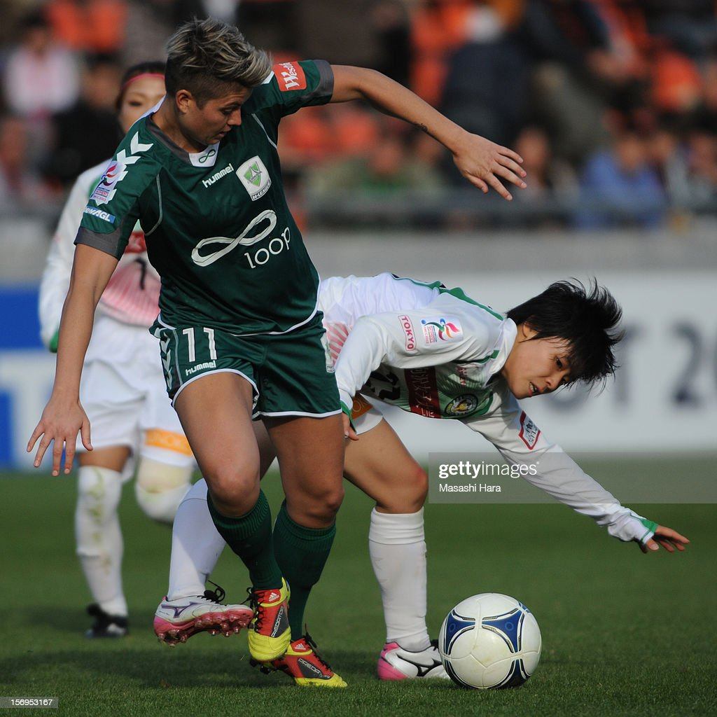 Michelle Heyman #11 of Canberra United (L) and Mayo Doko #23 of NTV Beleza compete for the ball during the International Women's Club Championship 3rd Place Match between NTV Beleza and Canberra United at Nack5 Stadium Omiya on November 25, 2012 in Saitama, Japan.