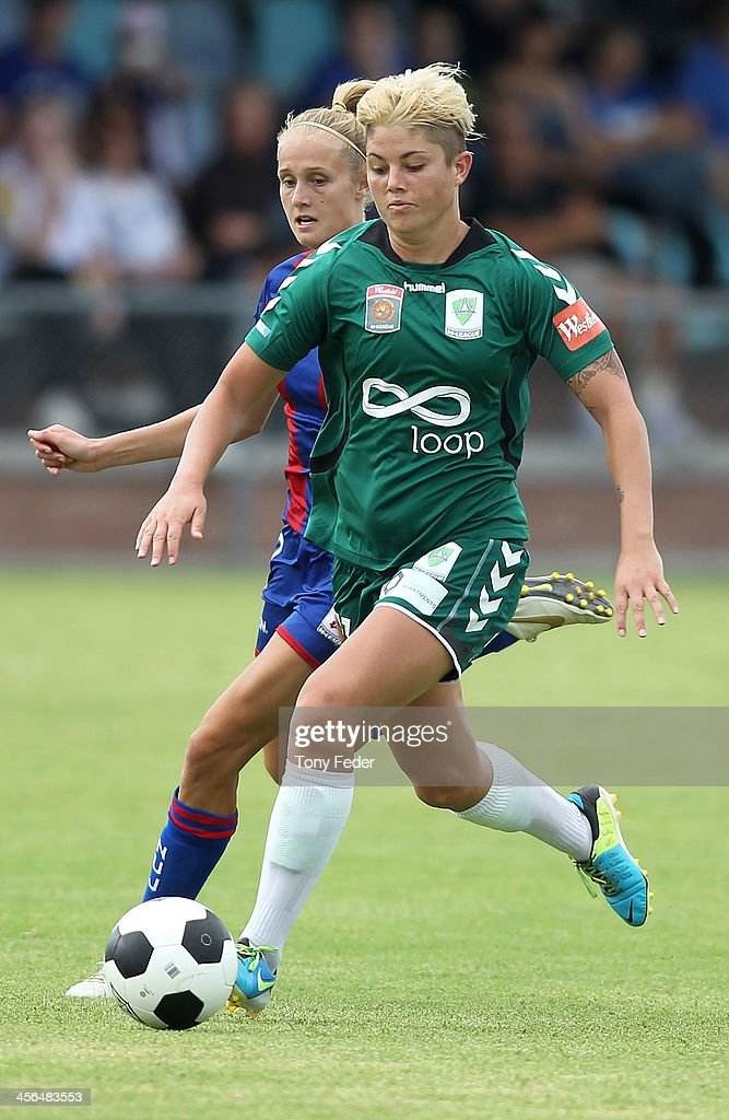 Michelle Heyman of Canberra United controls the ball ahead of Jets defence during the round five W-League match between the Newcastle Jets and Canberra United at Wanderers Oval on December 14, 2013 in Newcastle, Australia.