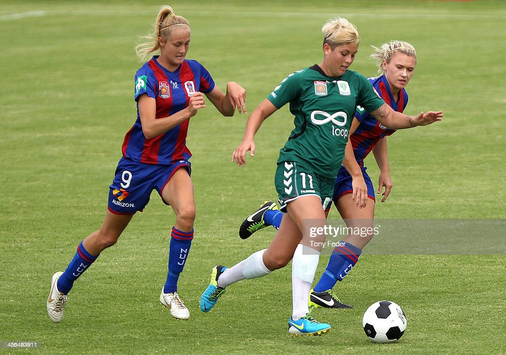 Michelle Heyman of Canberra United controls the ball during the round five W-League match between the Newcastle Jets and Canberra United at Wanderers Oval on December 14, 2013 in Newcastle, Australia.