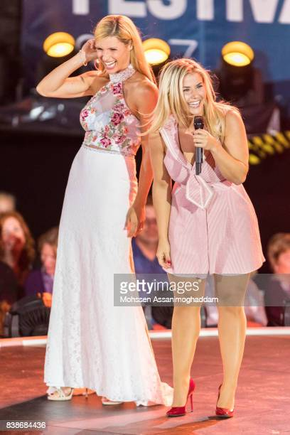 Michelle Hunziker and Beatrice Egli attend 'Das Grosse SommerHitFestival 2017' at Timmendorfer Strand on August 24 2017 at Timmendorfer Strand Germany