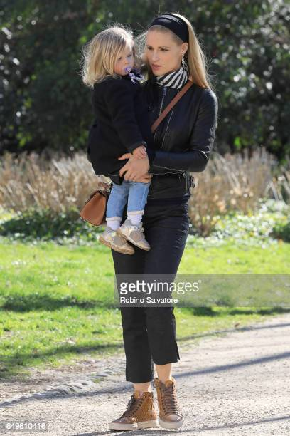 Michelle Hunziker and daughter are seen on March 8 2017 in Milan Italy