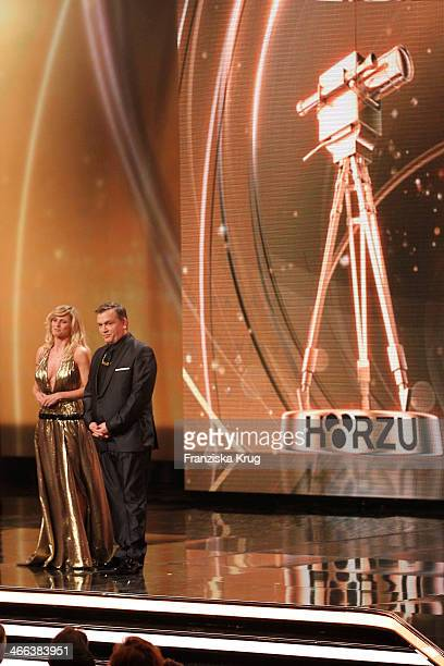 Michelle Hunziker and Hape Kerkeling attend the Goldene Kamera 2014 at Tempelhof Airport on February 01 2014 in Berlin Germany