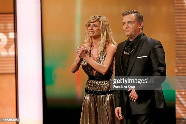 Michelle Hunziker and Hape Kerkeling attends the Goldene Kamera 2014 at Tempelhof Airport on February 01 2014 in Berlin Germany