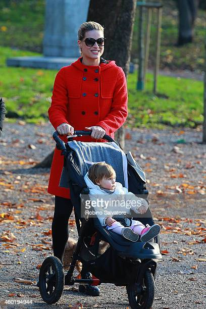 Michelle Hunziker and her daughter Sole Trussardi are seen spending some time in the park on December 09 2014 in Milan Italy