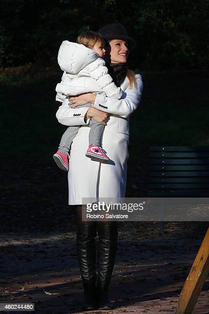Michelle Hunziker and her daughter Sole Trussardi are seen spending some time in the park on December 10 2014 in Milan Italy