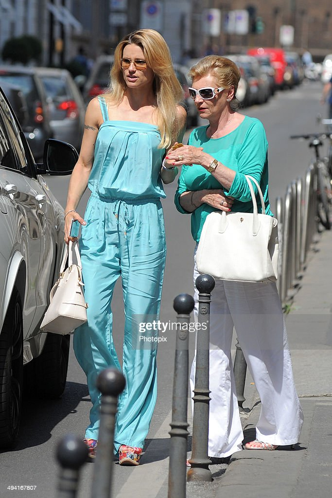 Michelle Hunziker and Ineke Hunziker are seen on May 28 2014 in Milan Italy
