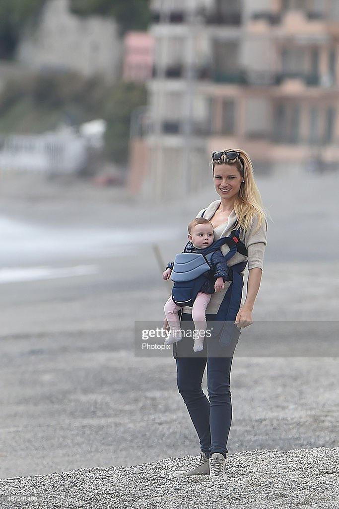 Michelle Hunziker and the daughter Sole Trussardi are seen on April 28 2014 in Varigotti Italy