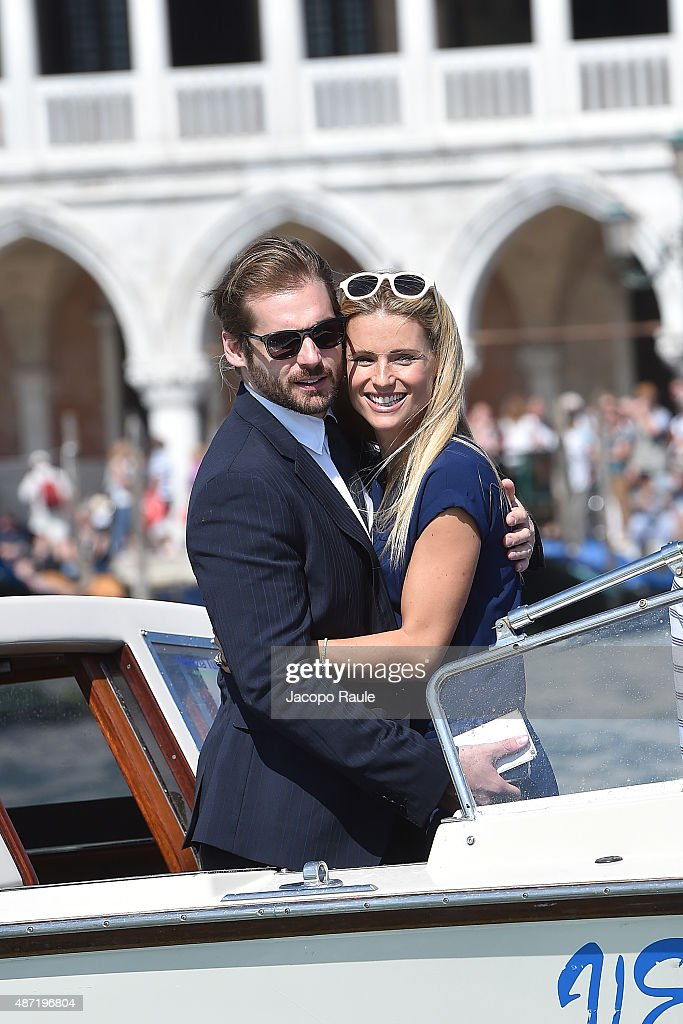 Michelle Hunziker and Tomaso Trussardi are seen during the 72nd Venice Film Festival on September 7 2015 in Venice Italy