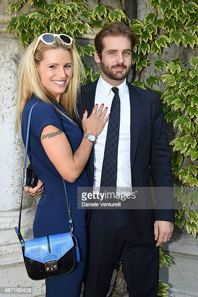 Michelle Hunziker and Tomaso Trussardi are seen on day 6 of the 72nd Venice Film Festival on September 7 2015 in Venice Italy