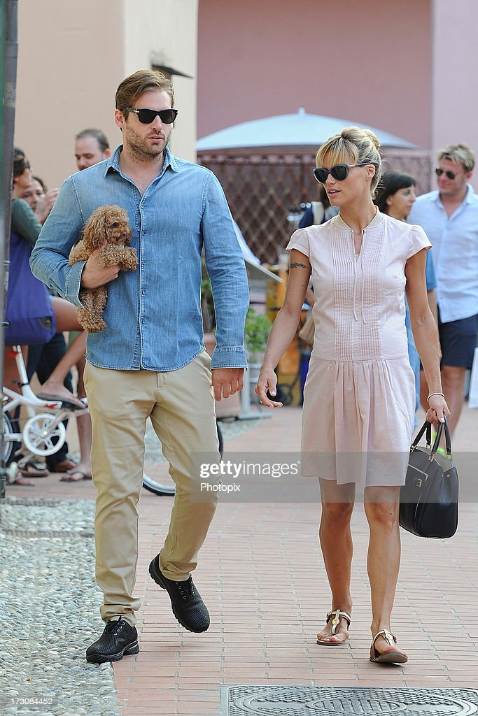 Michelle Hunziker and Tomaso Trussardi are seen on July 6, 2013 in Varigotti, Italy.