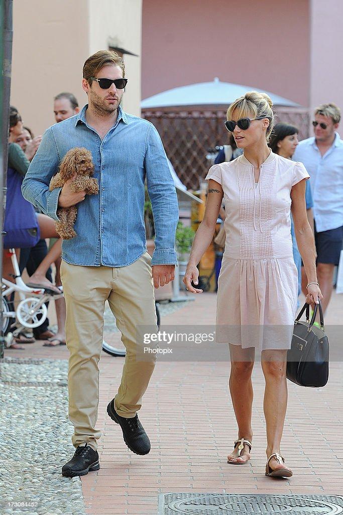 Michelle Hunziker and Tomaso Trussardi are seen on July 6, 2013 in Varigotti, Italy.