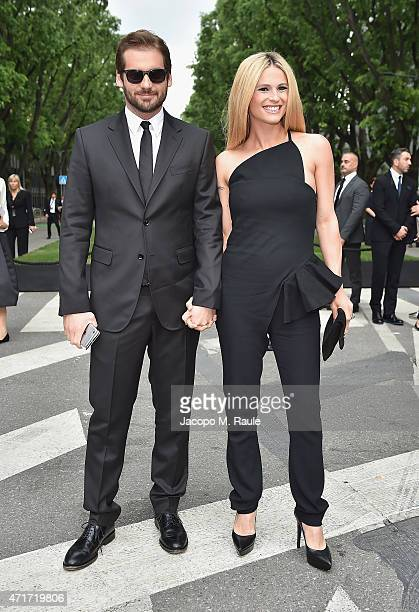 Michelle Hunziker and Tomaso Trussardi attend the Giorgio Armani 40th Anniversary Silos Opening And Cocktail Reception on April 30 2015 in Milan Italy