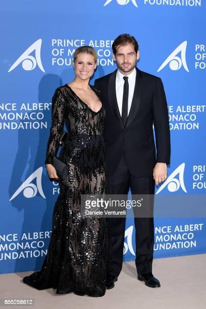 Michelle Hunziker and Tomaso Trussardi attend the inaugural 'MonteCarlo Gala for the Global Ocean' honoring Leonardo DiCaprio at the Monaco Garnier...