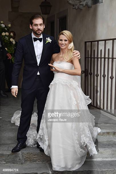 Michelle Hunziker and Tomaso Trussardi attend the Michelle Hunziker Wedding With Tomaso Trussardi at Palazzo della Ragione on October 10 2014 in...