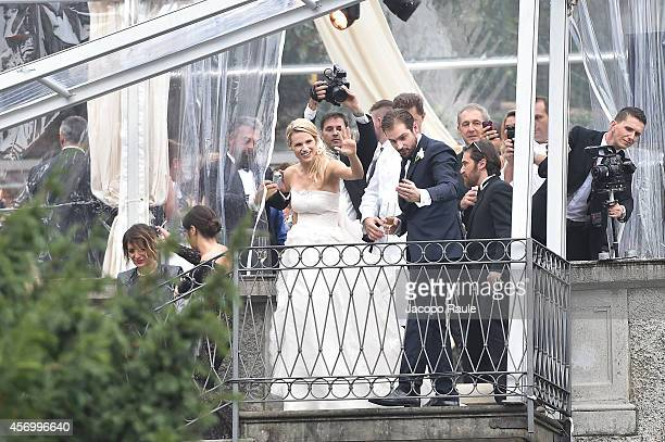 Michelle Hunziker and Tomaso Trussardi attend the Michelle Hunziker Wedding With Tomaso Trussardi at Villa Trussardi on October 10 2014 in Bergamo...