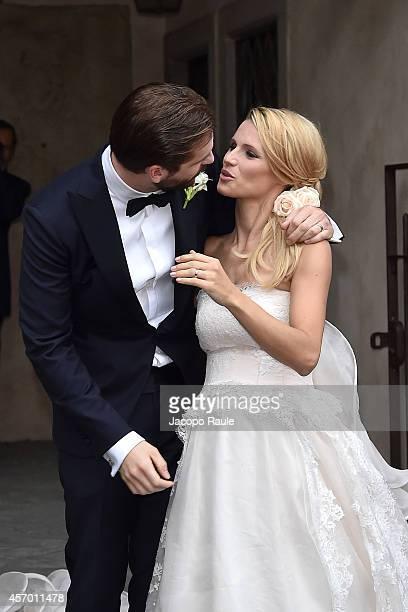 Michelle Hunziker and Tomaso Trussardi attend the Michelle Hunziker Wedding With Tomaso Trussardi at Palazzo della Ragione on October 10 2014 in...