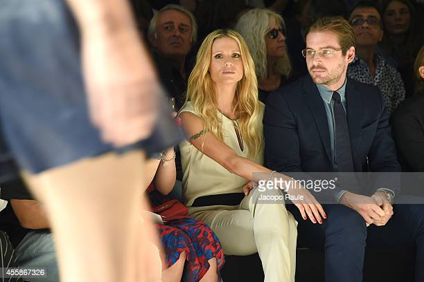 Michelle Hunziker and Tomaso Trussardi attend Trussardi Fashion Show during Milan Fashion Week Womenswear Spring/Summer 2015 on September 21 2014 in...