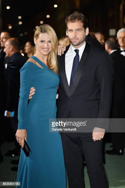 Michelle Hunziker and Tommaso Trussardi attend the Green Carpet Fashion Awards Italia 2017 during Milan Fashion Week Spring/Summer 2018 on September...