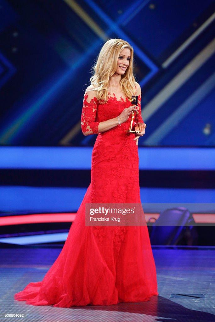 Michelle Hunziker attends the Goldene Kamera 2016 show on February 6, 2016 in Hamburg, Germany.