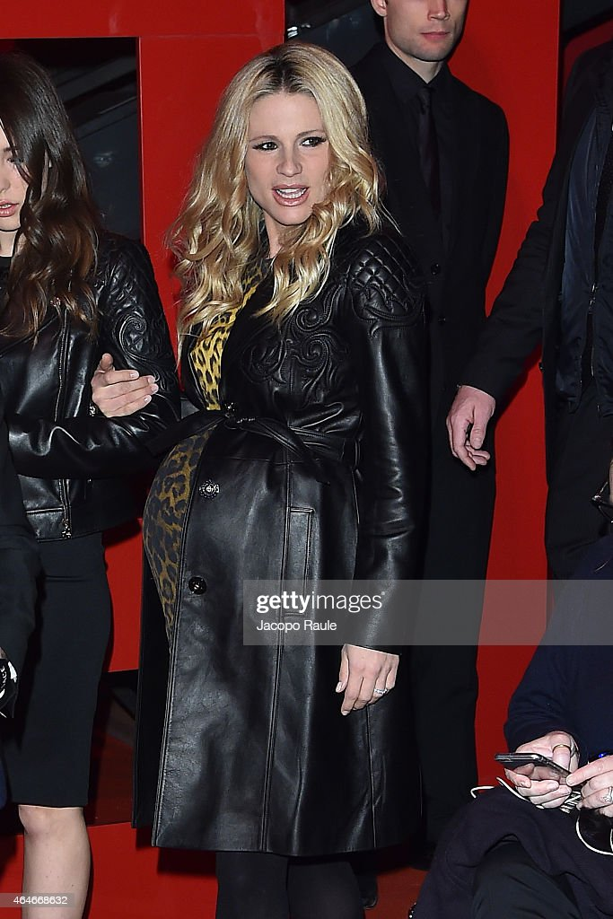 Michelle Hunziker attends the Versace show during the Milan Fashion Week Autumn/Winter 2015 on February 27 2015 in Milan Italy