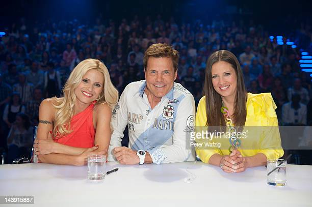 Michelle Hunziker Dieter Bohlen and Dana Schweiger attend the DSDS Kids Jury Photocall at Coloneum on May 05 2012 in Cologne Germany