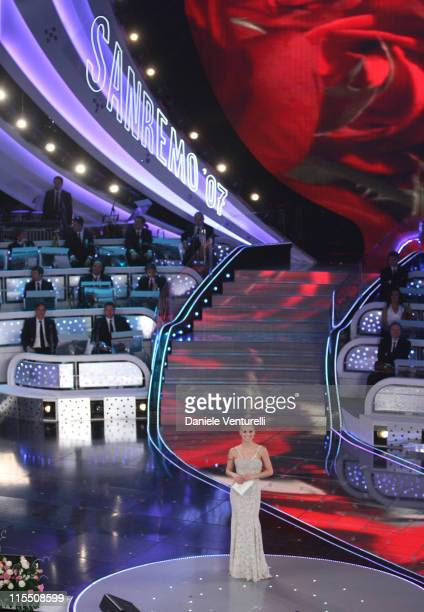 Michelle Hunziker during 57th San Remo Music Festival Day 5 at Theater Ariston in San Remo Italy
