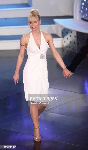 Michelle Hunziker during 57th San Remo Music Festival Inaugural Evening at Teatro Ariston in Sanremo Italy