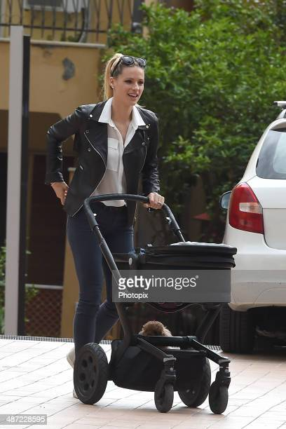Michelle Hunziker is seen on April 28 2014 in Varigotti Italy
