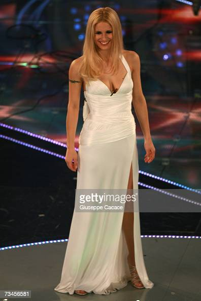 Michelle Hunziker is seen on stage during the second day of the 57th Sanremo Music Festival at Teatro Ariston February 28 2007 in Sanremo Italy