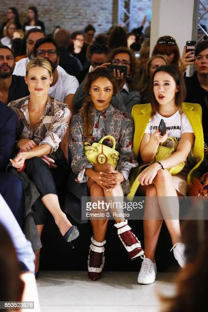 Michelle Hunziker Kat Graham and Aurora Ramazzotti attend the Trussardi Fashion Show during Milan Fashion Week Spring/Summer 2018 on September 24...