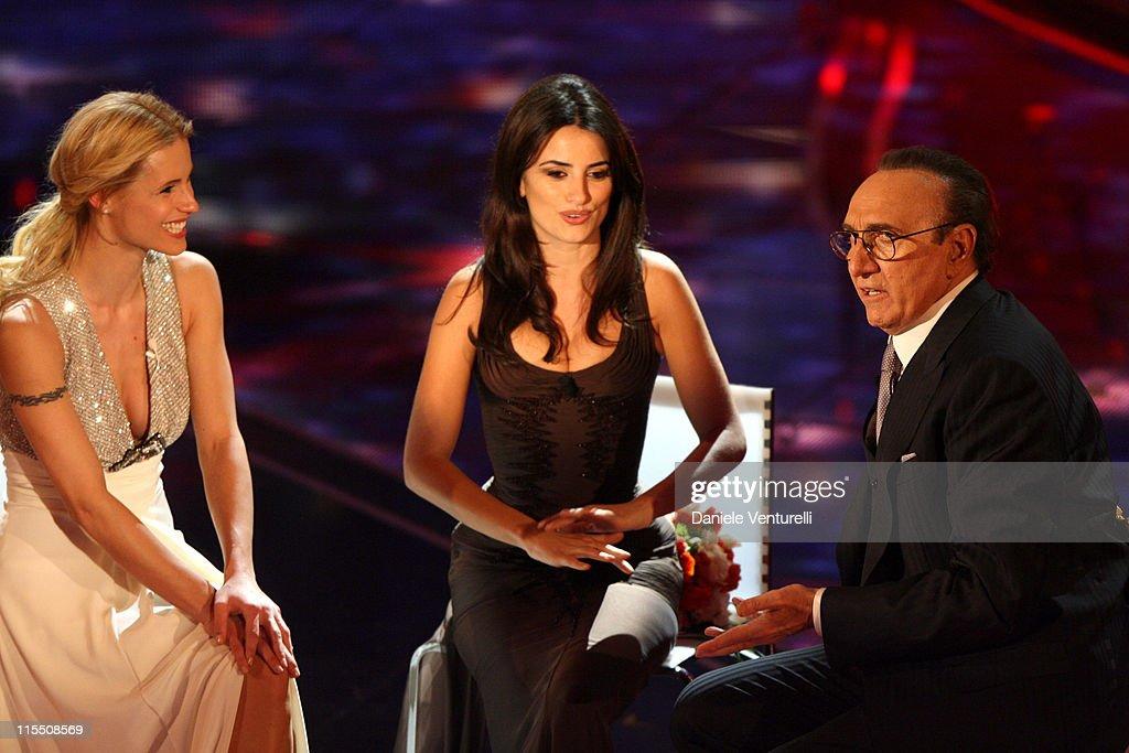 Michelle Hunziker, Penelope Cruz and Franco Battiato
