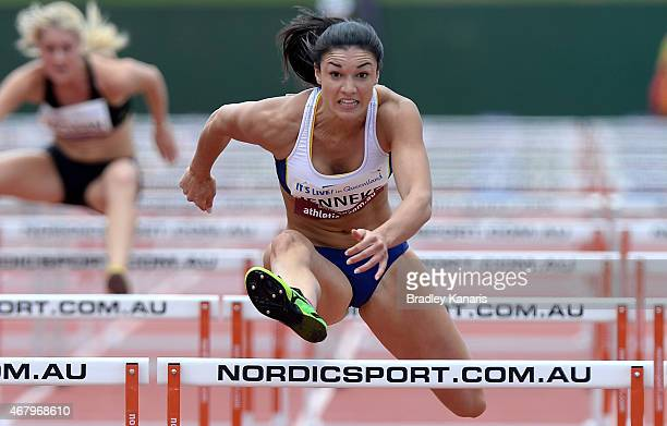 Michelle Jenneke competes in the heats of the Women's 110m Hurdle event during the Australian Athletics Championships at the Queensland Sports and...