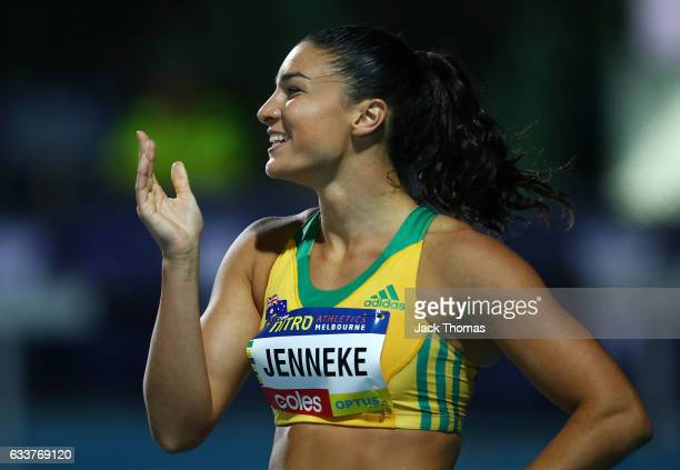 Michelle Jenneke of Australia celebrates winning in Women's 100 Metre Hurdles race during Nitro Athletics at Lakeside Stadium on February 4 2017 in...