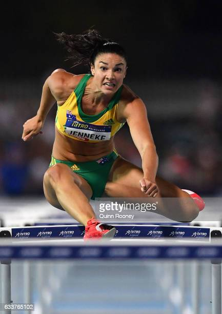 Michelle Jenneke of Australia competes in the 100 Metre Women's Hurdles during Nitro Athletics at Lakeside Stadium on February 4 2017 in Melbourne...
