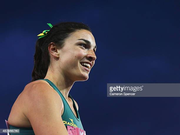 Michelle Jenneke of Australia competes in the Women's 100 metres hurdles heats at Hampden Park during day eight of the Glasgow 2014 Commonwealth...