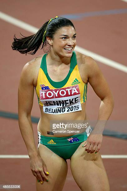 Michelle Jenneke of Australia competes in the Women's 100 metres hurdles semifinal during day seven of the 15th IAAF World Athletics Championships...