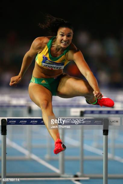Michelle Jenneke of Australia competes in Women's 100 Metre Hurdles race during Nitro Athletics at Lakeside Stadium on February 4 2017 in Melbourne...