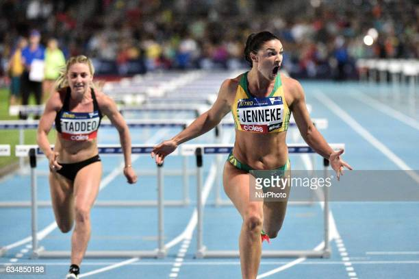 Michelle Jenneke of Australia during the mixed 2x100m Hurdles at Nitro Athletics at Lakeside Stadium on February 11 2017 in Melbourne Australia